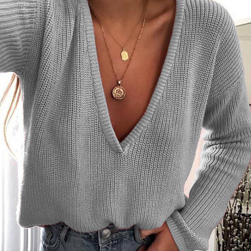 Deep V-neck Candy Color Women Loose Pullover Sweater