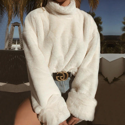 Plush Turtleneck Long Trumpet Sleeves Women Warm White Sweater