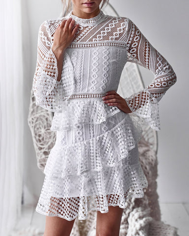Hollow Out Lace Long Trumpet Sleeves Women Short White Dress