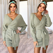 V-neck Wrap Straps Belt Long Batwing Sleeves Long Sweater Dress