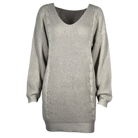 V neck Cable Knit Loose Women Pullover Oversized Sweater
