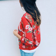 Flower Print Women Loose Zipper Casual Regular Coat