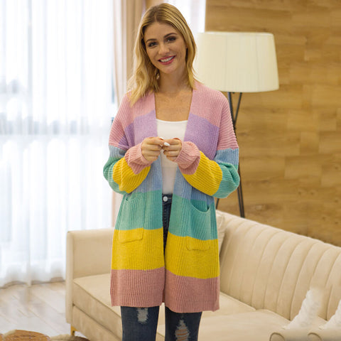 Long Cardigan Striped Long Sleeve Women Sweater
