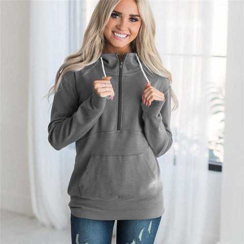 Drawstring Zipper Pocket Stand Collar Women Sweatshirt