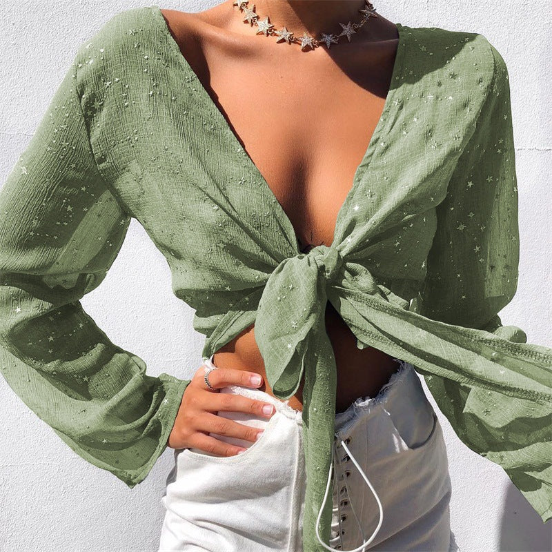 Lace-up V-neck Slim Pure Color Long Sleeves Short Crop Top