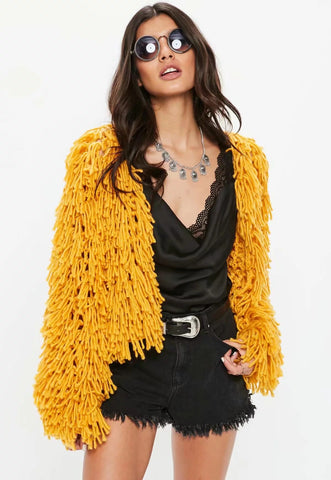 Candy Color Tassles Women Loose Chunky Cardigan