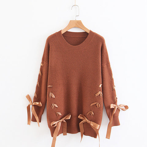 Crew Neck Straps Lace Up Loose Long Sleeves Women Knit Sweater