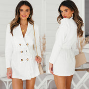 Deep C-neck Double Breast White Slim Women Peacoat
