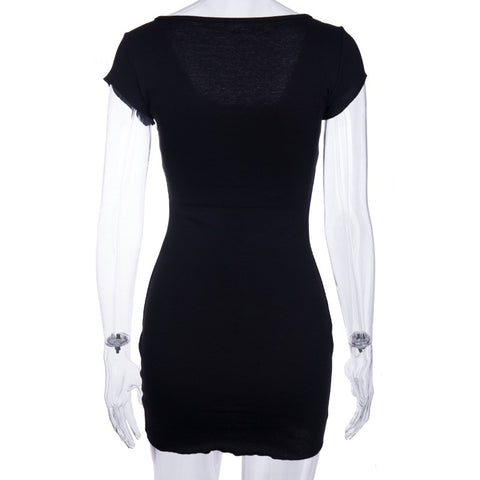 Buttons Big Scoop Neckline Women Pure Color Short Bodycon Dress