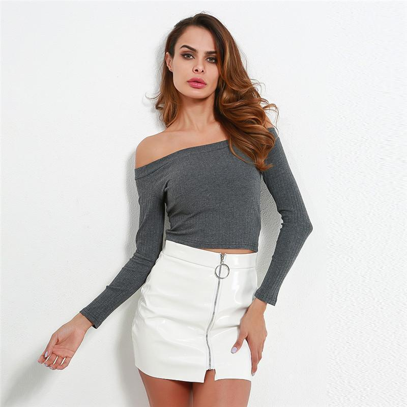 Off the Shoulder Long Sleeved Bodycon Sweater