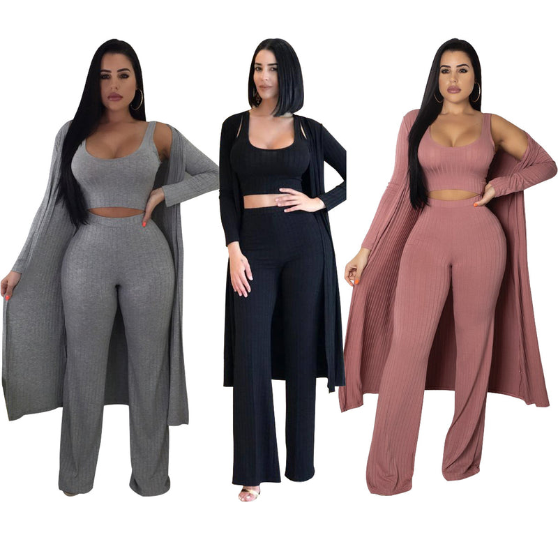 Straps Crop Top High Waist Wide-leg Long Pants with Long Outwear Women Three Pieces Set
