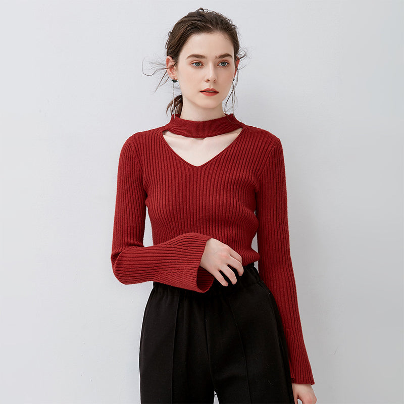 Cut Out Long Bell Sleeves Women Solid Color Slim Sweater