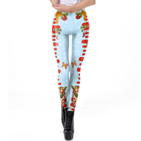 Mid Elastic Waist Print Women Christmas Party Skinny Leggings