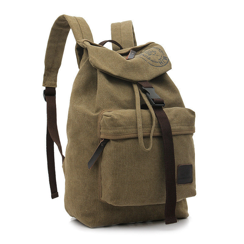 Folder Cover Solid Color Canvas Backpack Leisure Bag - Meet Yours Fashion - 1
