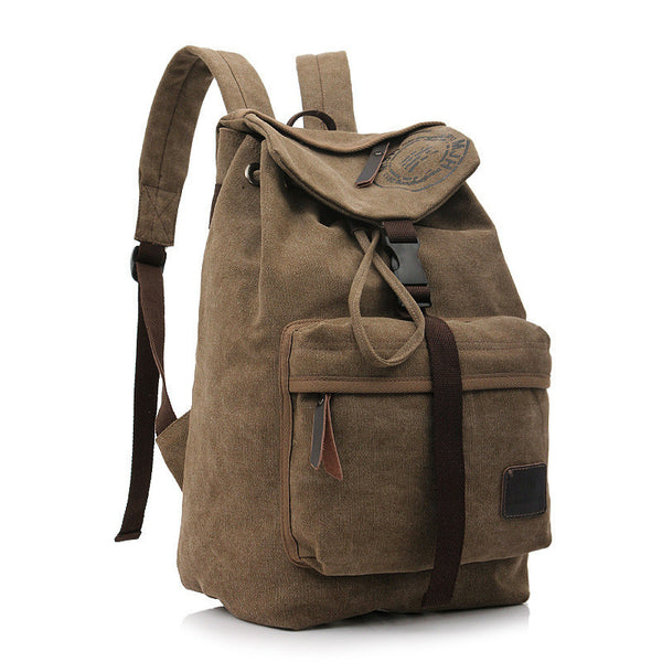 Folder Cover Solid Color Canvas Backpack Leisure Bag - Meet Yours Fashion - 5