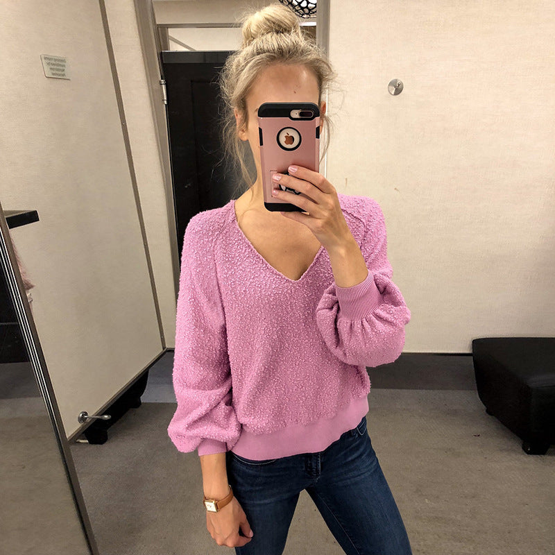 V-neck Bright Color Long Bishop Sleeves Loose Women Pullover Sweater