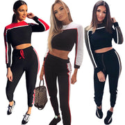 Color Patchwork Crop Top with High Waist Pants Women Two Pieces Set