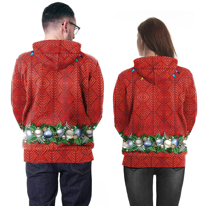 3D Digital Print Women Drawstring Christmas Party Hoodie
