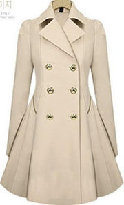 Double Button Turn-down collar Slim Plus Size Coat - Meet Yours Fashion - 5