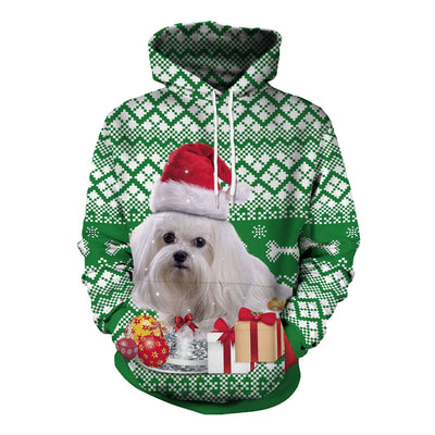 Gifts and Dog Digital Print Women Christmas Party Hoodie