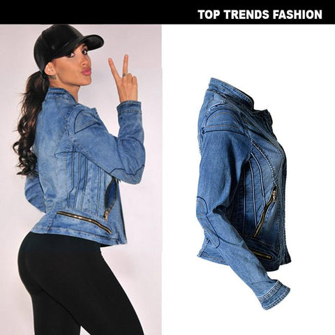 Stand Collar Zipper Women Motorcycle Short Denim Jacket