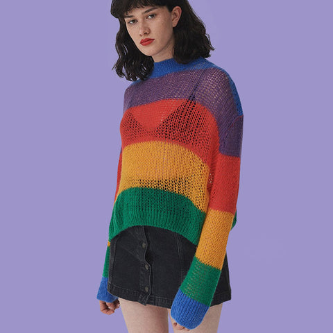 Colorful Rainbow Stripes Patchwork Loose Long Sleeves Women Pullover Sweater