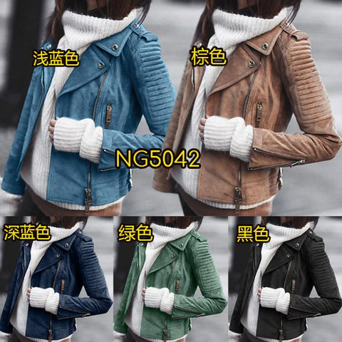Rivets Lapel Zippers Women Slim Motorcycle Short Jacket Coat