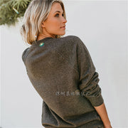Letter Print Scoop Casual Women Pullover Sweater