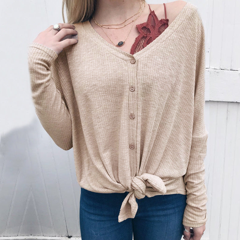 V-neck Buttons Loose Long Sleeves Long Cardigan