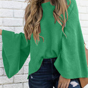 Candy Color Scoop Long Trumpet Sleeves Loose Women Sweater