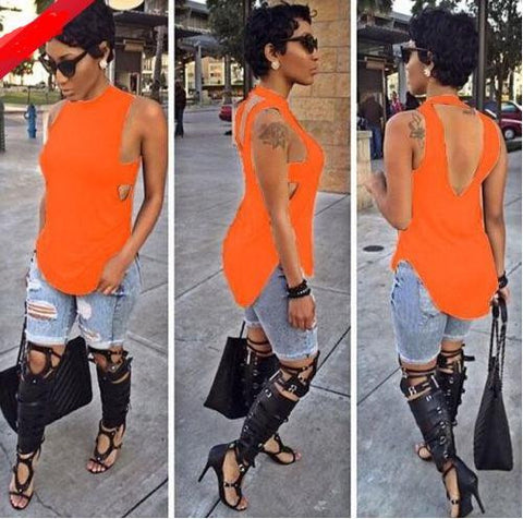 Backless Sleeveless High Neck Slim Sexy Blouse - Meet Yours Fashion - 2
