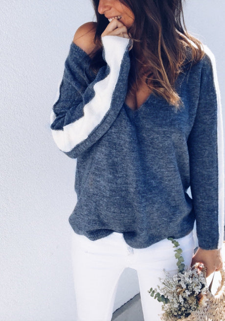 Autumn Winter Deep V-neck Knitted Patchwork Women's Loose Sweater