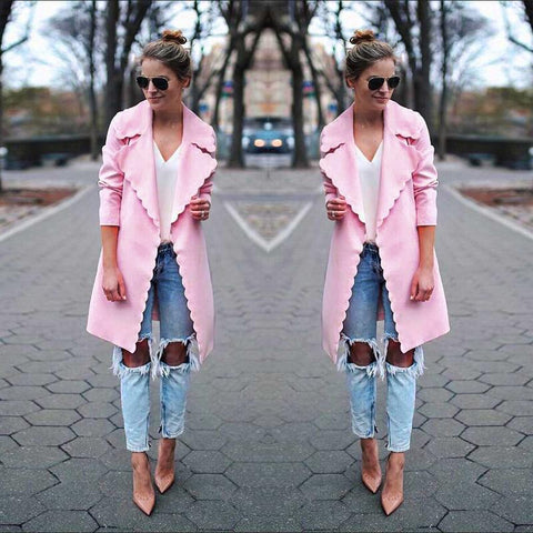 Lapel Solid Color Women Loose Oversized Pink Cardigan Coat