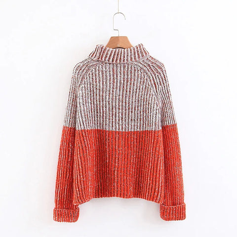 High Neck Color Patchwork Curl Long Sleeves Loose Women Sweater