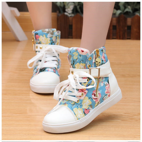 Cute Floral Print Skull Lace Up High Cut Women Sneakers - MeetYoursFashion - 3