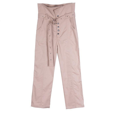 Pure Color High Waist Women Hasp 9/10 Pencil Loose Pants