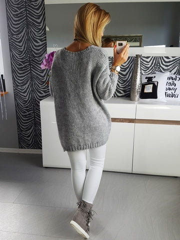 Solid Color Cardigan Loose Women Gray Long Sweater