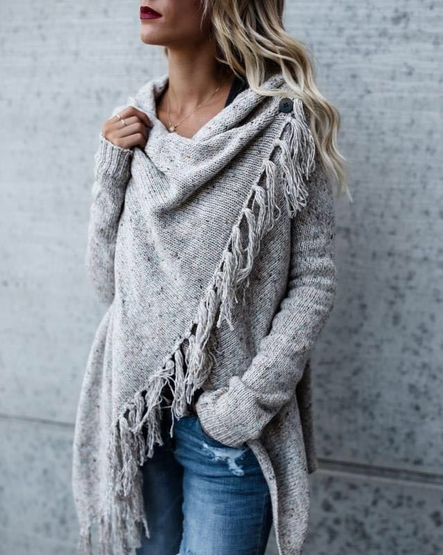Dropped Neckline Tassels Side Close Women Long Cardigan