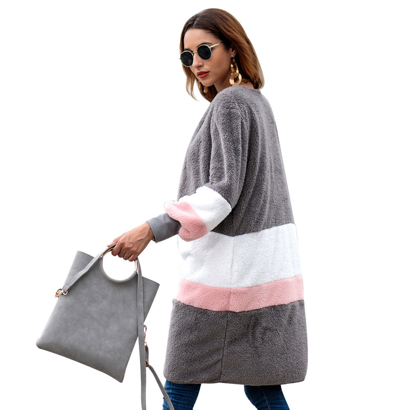 Plush Stripe Color Patchwork V-neck Long Women Cardigan Sweater