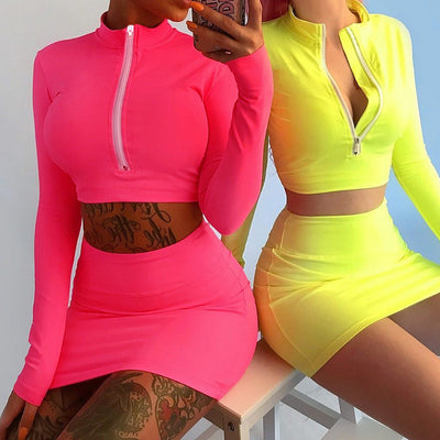 Bright Candy Color Zipper Crop Top with Short Skirts Two Pieces Dress Set