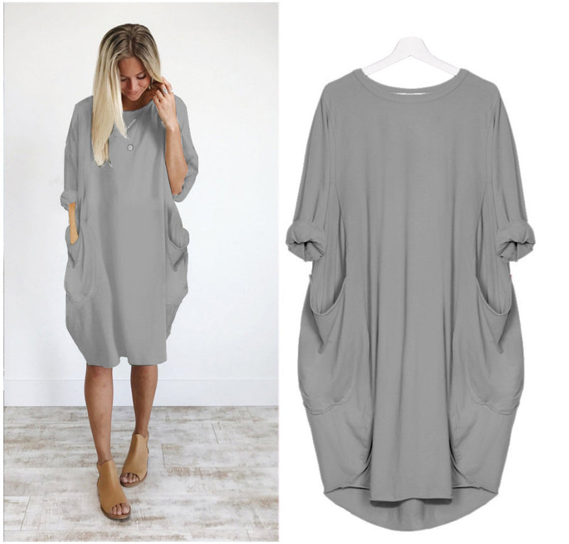 Half Sleeves Pockets Women Knee-length Loose Dress