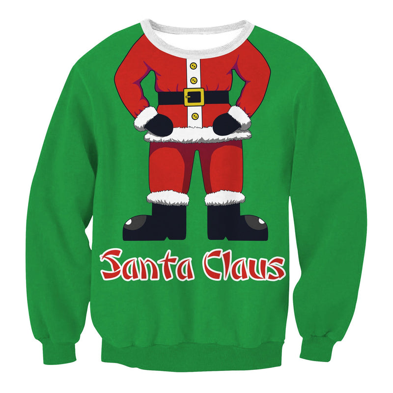 Scoop Santa Claus Print Women Christmas Sweatshirt