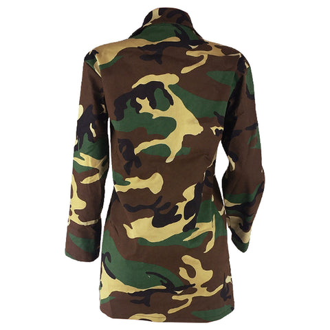 Camouflage Label Pockets Women Casual Oversized Coat