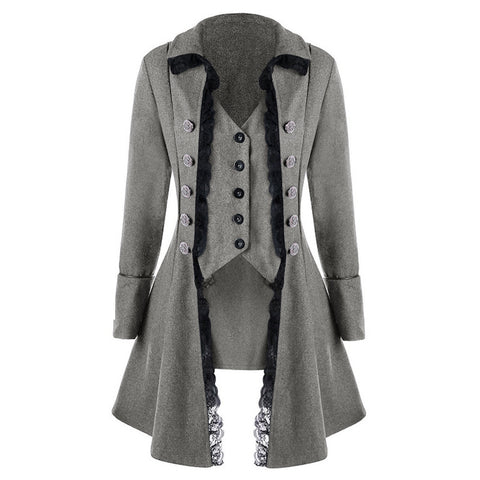 Retro Three Breast Irregular Women Oversized Long Coat