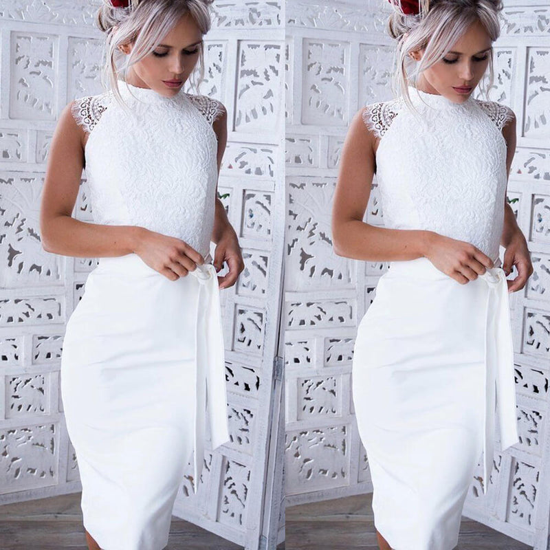 White Bodycon Lace Patchwork Empire Waist  Dress
