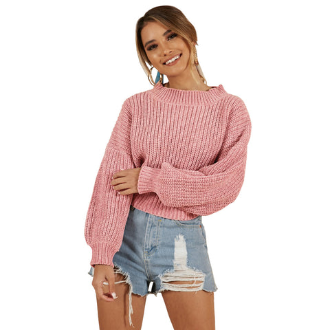 Crew Neck Long Bishop Sleeves Loose Women Knit Chunky Sweater