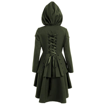 Halloween Buttons Irregular Bandage Back Lace Up Women Oversized Hooded Swing Coat