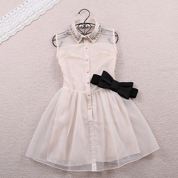 Fashion Beadings A-line Short Bowknot Belt Dress - MeetYoursFashion - 4