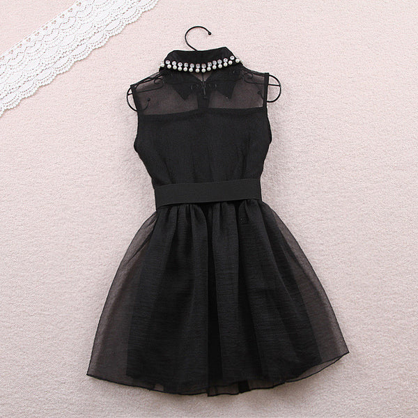 Fashion Beadings A-line Short Bowknot Belt Dress - MeetYoursFashion - 5