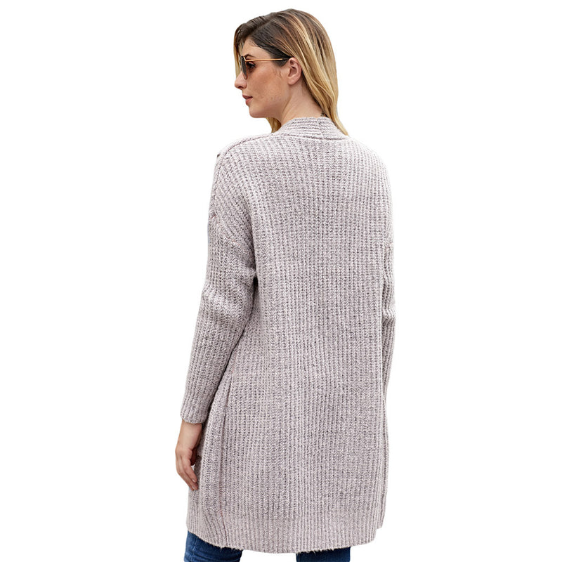 Solid Color Cable Knit Pockets Long Women Caridgan Sweater